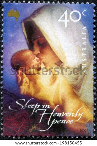 """AUSTRALIA-CIRCA 2000:A stamp printed in AUSTRALIA shows image of Mary, commonly referred to as """"Saint Mary"""", """"Mother Mary"""", the """"Virgin Mary"""",, was a Jewish woman of Nazareth in Galilee, circa 2000. - stock photo"""