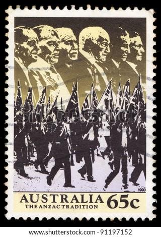AUSTRALIA - CIRCA 1990: A stamp printed in Australia shows image of the anzac tradition, circa 1990 - stock photo