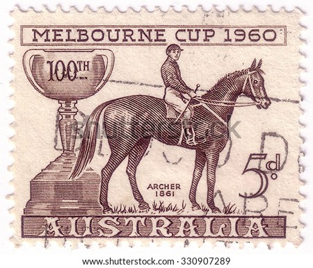 AUSTRALIA - CIRCA 1961: A stamp printed in Australia shows image of the winner of the 100th Melbourne Cup in 1960, series, circa 1961 - stock photo