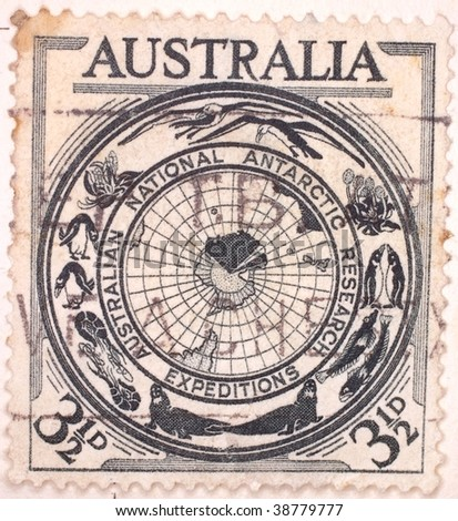 AUSTRALIA - CIRCA 1959: A stamp printed in Australia shows image representing Australian National Antarctic Research Expeditions, series, circa 1959 - stock photo