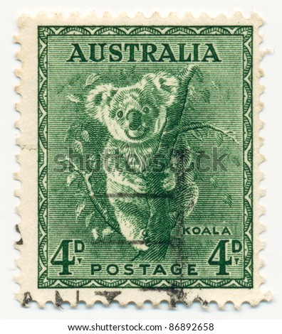 AUSTRALIA - CIRCA 1937: A stamp printed in Australia shows Koala, circa 1937 - stock photo