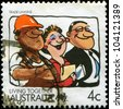 AUSTRALIA - CIRCA 1988: A stamp printed in Australia shows Living Together, celebrating Trade Unions, circa 1988 - stock photo