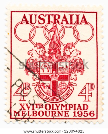 AUSTRALIA - CIRCA 1956: A stamp printed in Australia shows Melbourne Coat of Arms, circa 1956