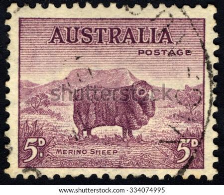 AUSTRALIA - CIRCA 1934: A stamp printed in Australia shows Merino Sheep, circa 1934 - stock photo