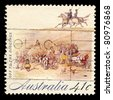 AUSTRALIA - CIRCA 1990: A stamp printed in Australia shows Off to the Diggings, circa 1990 - stock photo