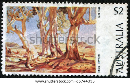 AUSTRALIA - CIRCA 1974: A stamp  printed in Australia shows painting by Hans Heysen - River Red Gum (Eucalyptus camaldulensis), circa 1974