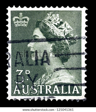 "AUSTRALIA - CIRCA 1953: A stamp printed in Australia shows Portrait of Queen Elizabeth II, without inscriptions, from the series ""Queen Elizabeth II"", circa 1953"
