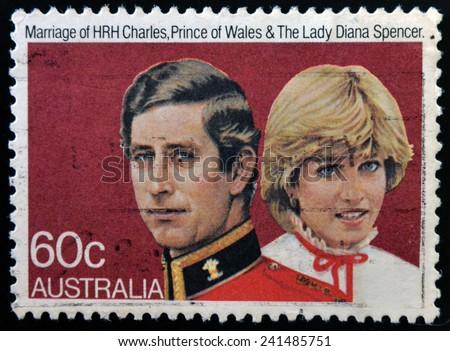 AUSTRALIA - CIRCA 1981: A stamp printed in Australia shows Prince Charles and Lady Diana, circa 1981  - stock photo