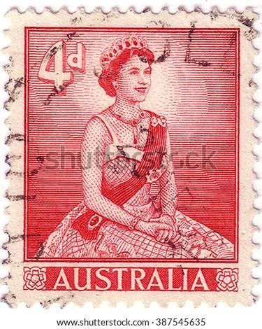 AUSTRALIA - CIRCA 1958: A stamp printed in Australia shows Queen Elizabeth, circa 1958 - stock photo