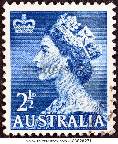 AUSTRALIA - CIRCA 1953: A stamp printed in Australia shows Queen Elizabeth II, circa 1953.  - stock photo