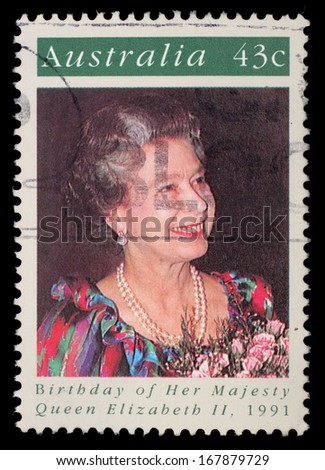 AUSTRALIA - CIRCA 1991: A stamp printed in Australia shows Queen Elizabeth II, circa 1991 - stock photo