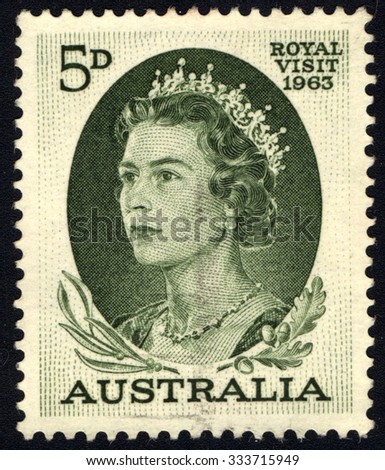 AUSTRALIA - CIRCA 1963 A stamp printed in Australia shows Queen Elizabeth II, circa 1963 - stock photo