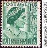 AUSTRALIA - CIRCA 1950: A stamp printed in Australia shows Queen Elizabeth the Queen mother, circa 1950. - stock photo