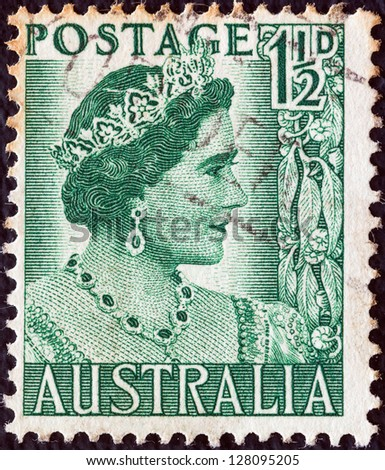 AUSTRALIA - CIRCA 1950: A stamp printed in Australia shows Queen Elizabeth the Queen mother, circa 1950. - stock photo