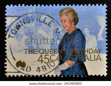 AUSTRALIA - CIRCA 2000: A stamp printed in Australia shows queen,s birthday, circa 2000  - stock photo