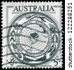 AUSTRALIA - CIRCA 1954: A Stamp printed in AUSTRALIA shows the Antarctic Flora and Fauna and Map, Australia�¢??s interest in the Antarctic continent, circa 1954 - stock photo