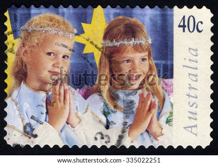 AUSTRALIA - CIRCA 1997: A stamp printed in Australia  shows the Children in Christmas Nativity pageant, Angels, Christmas series, circa 1997 - stock photo