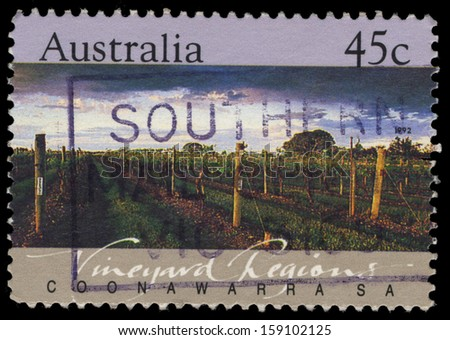 AUSTRALIA - CIRCA 1992: A Stamp printed in AUSTRALIA shows the Coonawarra, Vineyard Regions, South Australia, series, circa 1992 - stock photo