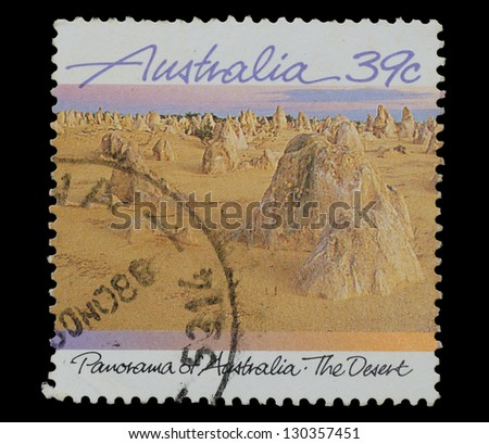 AUSTRALIA - CIRCA 1988: A Stamp printed in AUSTRALIA shows the Desert, Panorama of Australia series, circa 1988
