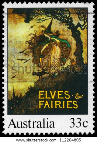 AUSTRALIA - CIRCA 1985: A Stamp printed in AUSTRALIA shows the Elves and Fairies, by Annie Rentoul, Illustrations from classic children�¢??s books series, circa 1985 - stock photo