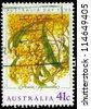AUSTRALIA - CIRCA 1990: A Stamp printed in AUSTRALIA shows the Golden Wattle (Acacia pycnatha), Australia Day issue, circa 1990 - stock photo