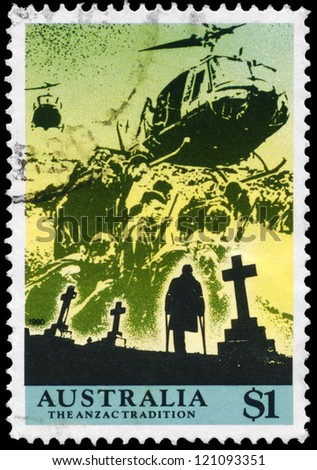 AUSTRALIA - CIRCA 1990: A Stamp printed in AUSTRALIA shows the Helicopters picking up wounded and Cemetery, Scenes from War, ANZAC series, circa 1990 - stock photo