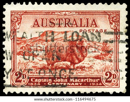 AUSTRALIA - CIRCA 1934: A Stamp printed in AUSTRALIA shows the Merino Sheep, devoted to Captain John Macarthur (1767-1834), circa 1934 - stock photo