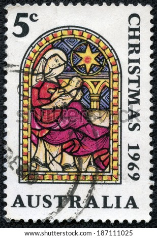 AUSTRALIA - CIRCA 1969: A stamp printed in Australia shows the Nativity, Christmas series, circa 1969 - stock photo