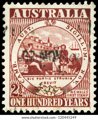 AUSTRALIA - CIRCA 1950: A Stamp printed in AUSTRALIA shows the New South Wales, Century of Australian adhesive postage stamps issue, circa 1950 - stock photo