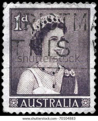 AUSTRALIA - CIRCA 1959: A Stamp printed in AUSTRALIA shows the portrait of a Queen Elizabeth II (born 21 April 1926), series, circa 1959 - stock photo
