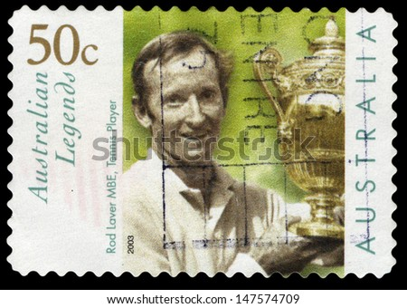 AUSTRALIA - CIRCA 2003: A stamp printed in Australia shows the portrait of a Rod Laver with Wimbledon trophy, Australian Legends series, circa 2003