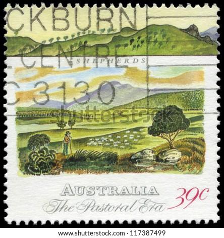 AUSTRALIA - CIRCA 1989: A Stamp printed in AUSTRALIA shows the Shepherds, Pastoral Era series, circa 1989 - stock photo