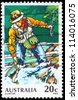 AUSTRALIA - CIRCA 1979: A Stamp printed in AUSTRALIA shows the Trout Fishing, Sport fishing series, circa 1979 - stock photo
