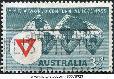 AUSTRALIA - CIRCA 1955: A stamp printed in Australia, shows the World Map, YMCA Emblem, circa 1955