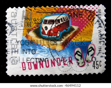 AUSTRALIA - CIRCA 1981: A stamp printed in Australia shows Volkswagen mini-van on a piece of toast on the ocean and beach slippers, circa 1981 - stock photo