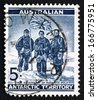 AUSTRALIA - CIRCA 1961: a stamp printed in the Australia, Australian Antarctic Territory shows Edgeworth David, Douglas Mawson and A. F. McKay, South Pole Expedition, circa 1961 - stock photo
