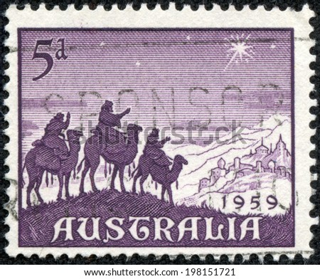 AUSTRALIA - CIRCA 1959: a stamp printed in the Australia shows Approach of the Magi, Christmas, circa 1959 - stock photo