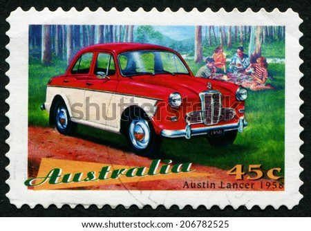 AUSTRALIA - CIRCA 1997: a stamp printed in the Australia shows Austin Lancer, Classic Car from 1958, circa 1997 - stock photo