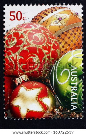 AUSTRALIA - CIRCA 2008: a stamp printed in the Australia shows Baubles, Christmas Decoration, circa 2008 - stock photo