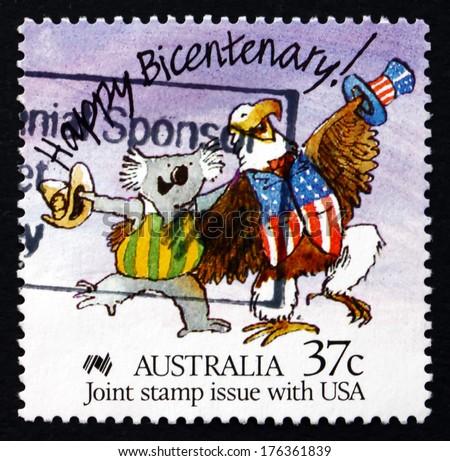 AUSTRALIA - CIRCA 1988: a stamp printed in the Australia shows Caricature of Australian Koala and American Bald Eagle, Australian Bicentennial, circa 1988 - stock photo