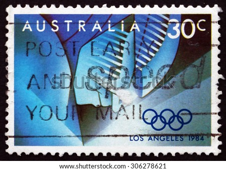 AUSTRALIA - CIRCA 1984: a stamp printed in the Australia shows Event Stages, 1984 Summer Olympics, Los Angeles, circa 1984 - stock photo