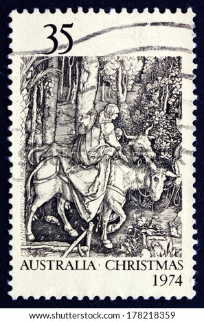 AUSTRALIA - CIRCA 1974: a stamp printed in the Australia shows Flight into Egypt, by Albrecht Durer, Christmas, circa 1974 - stock photo