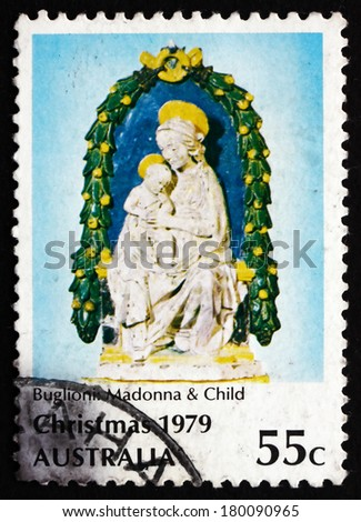 AUSTRALIA - CIRCA 1979: a stamp printed in the Australia shows Madonna and Child, by Buglioni, Christmas, circa 1979 - stock photo
