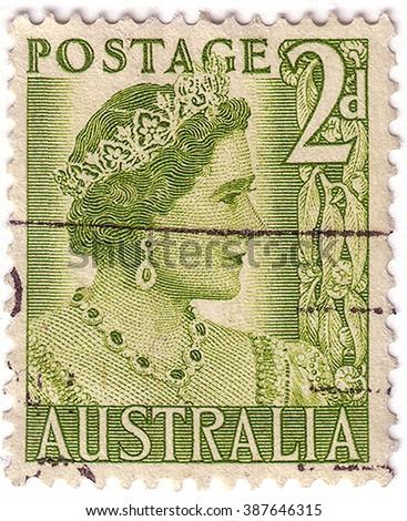 AUSTRALIA - CIRCA 1951: a stamp printed in the Australia shows Queen Elizabeth, Queen of England, circa 1951 - stock photo