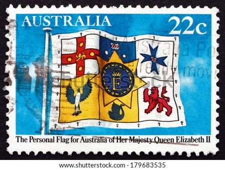 AUSTRALIA - CIRCA 1981: a stamp printed in the Australia shows Queen Elizabeths Personal Flag of Australia, circa 1981