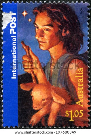 AUSTRALIA - CIRCA 2006: a stamp printed in the Australia shows Shepherd and Lamb, Christmas, circa 2006 - stock photo
