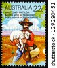 AUSTRALIA - CIRCA 1980: a stamp printed in the Australia shows Stealing Sheep, Waltzing Matilda, Poem by Andrew Barton Paterson, circa 1980 - stock photo