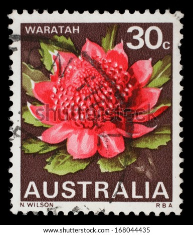 AUSTRALIA - CIRCA 1968: a stamp printed in the Australia shows Waratah, New South Wales, State Flower, circa 1968