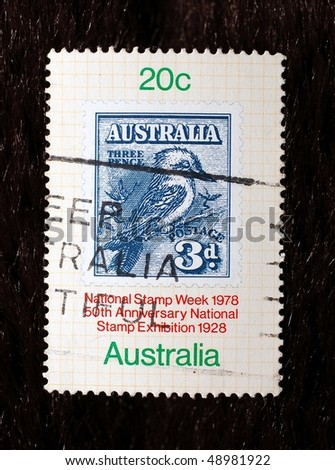 AUSTRALIA - CIRCA 1978: A stamp shows image commemorating the 50th anniversary of the National Stamp Exhibition, circa 1978 - stock photo