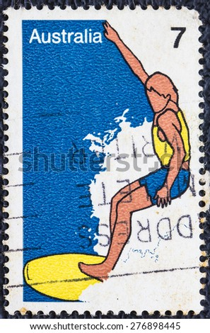AUSTRALIA - CIRCA 1974: A vintage stamp printed in AUSTRALIA shows the windsurfing, Sport series, circa 1974 - stock photo